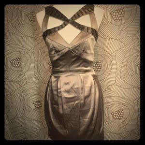 Vintage BEBE Silver Beaded Top Cocktail Dress